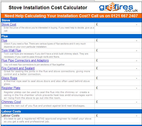 How much does it cost to install a wood burning stove for Cost to build calculator free