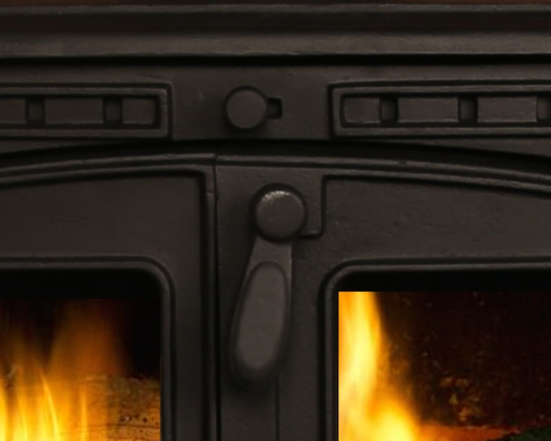 Glass back woodburner
