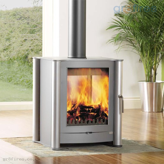 Firebelly FB1 Double Fronted Pewter 6kw Woodburner